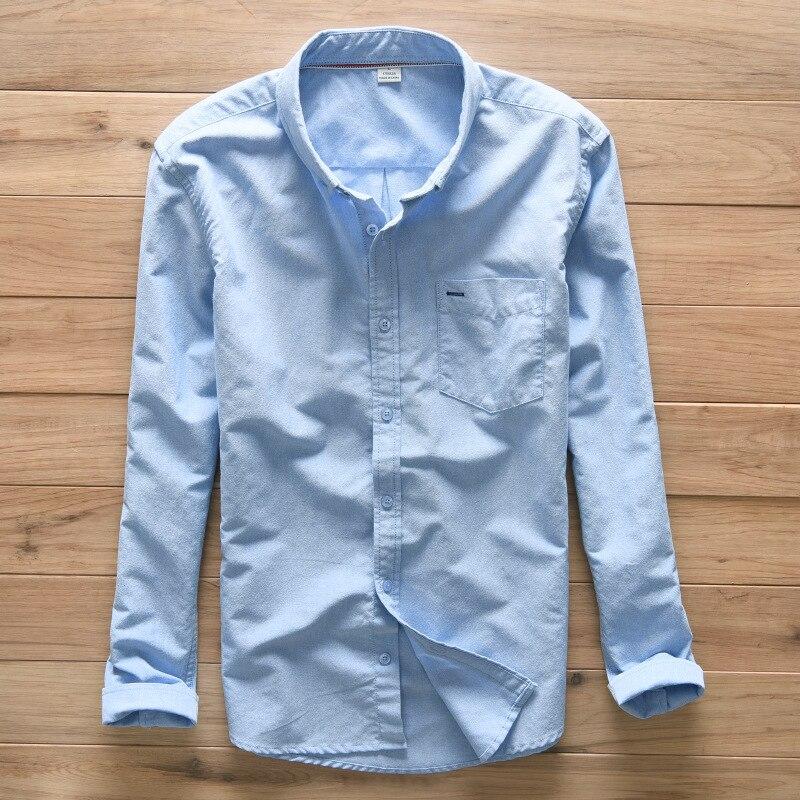 새로운 Suehaiwe의 브랜드면 셔츠 남성 패션 긴 소매 솔리드 남성 셔츠 Blue Comfortable breathable Mens Shirts Chemise homme