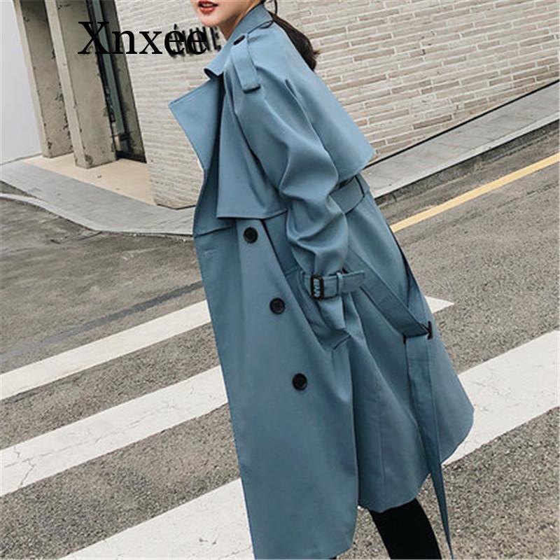 Xnxee Windbreaker Female 2019 Spring Autumn new Korean leisure chic loose ladies harbor wind Long   Trench   Coat for women blue