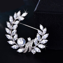 New Olive Brooch Jewelry for Women Micro Pave Cubic Zirconia Crystal Flower Brooches and Pin Wedding Beautiful Collar Brooches(China)