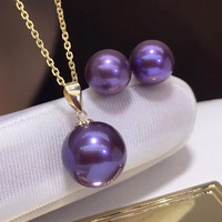 Fine Jewelry 18 K Gold Fresh water Purple Pearls Pendant Necklace and Earrings Jewelry sets