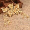 Новый позолоченный сплав китайский acient невесты аксессуары для волос бабочка невесты корона бижутерия оптом