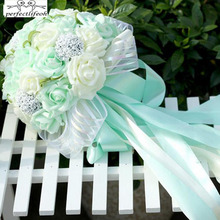 perfectlifeoh Mint Green Artificial flowers Wedding Bridesmaid Bouquets 2016 Romantic Wedding brooch bouquets Wedding Accessies