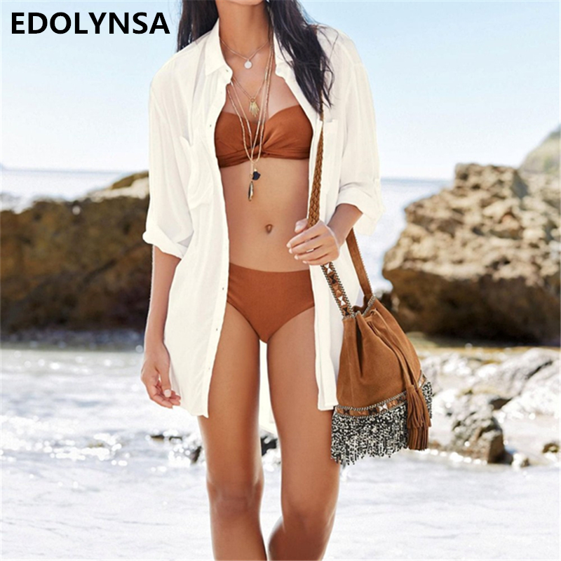 New Arrivals Sexy Beach Cover up Rayon White Swimwear Ladies Sexy Beachwear Coverups Sun Bath Beach Cape Robe de Plage #Q54