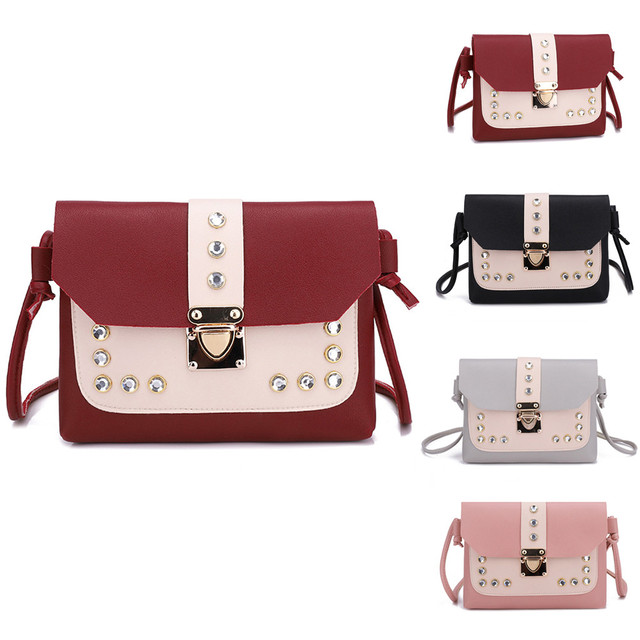 87c9e28b69 Women Hit Color Rhinestone Shoulder Bag Messenger Satchel Tote Crossbody Bag  High Quality bags 2018 for women