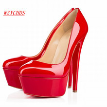 WZYCHDS Top Quality  Women Shoes Red Bottom High Heels Sexy Pointed Toe Red Sole Wedding Shoes Escarpins Semelle 14cm 817-9