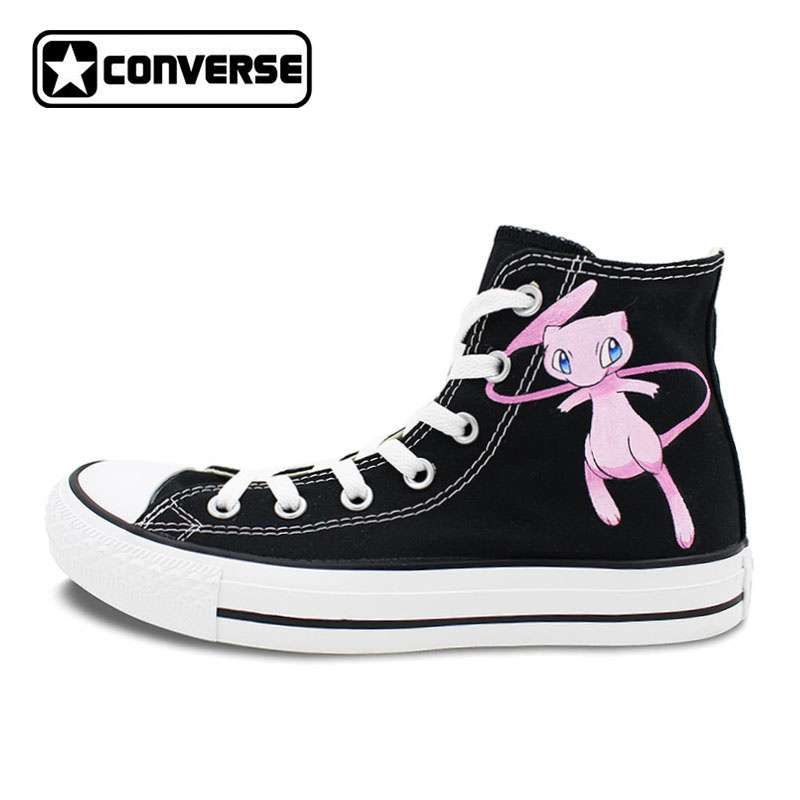 Sneakers Converse Chuck Taylor Black Pokemon Shoes Mew Design Hand Painted Shoes Women Man High Top Sneakers Christmas Gifts