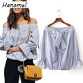 Fashion Off Shoulder Striped Shirt Women Flare Long Sleeve Ladies Tops Blouses 2017 Slash Neck Blusas Mujer Bow Blouse C153