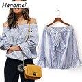 Moda fora do ombro camisa listrada mulheres flare longos das senhoras da luva tops blusas 2017 barra pescoço blusas mujer blusa arco c153