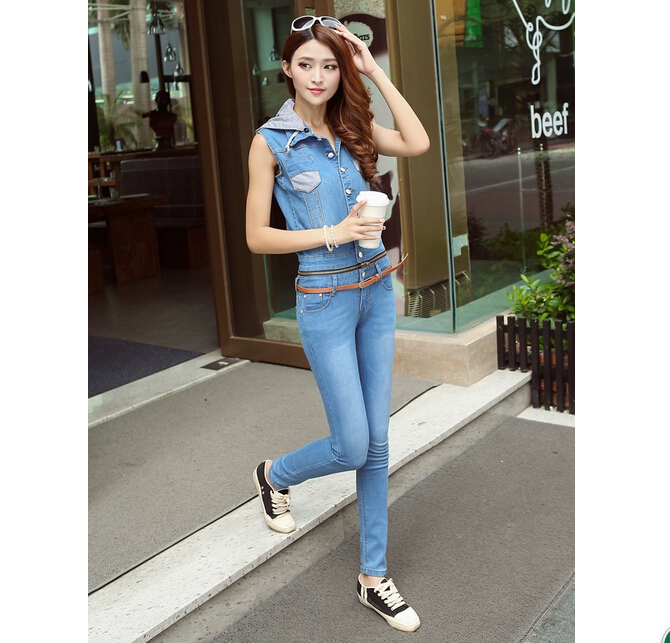 Online Shop Jeans Women 2014 New Style skinny Zipper overalls jean ...