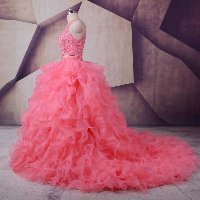Peach Quinceanera Dresses 2019 LORIE Vestidos De 15 Anos Ruffles - Gaun acara khas - Foto 3