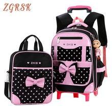 Girls Nylon Bookbag 2pcs/sets Removable Children School Back Pack Bag 6 Wheels Can Climb Stairs Waterproof Trolley Backpack