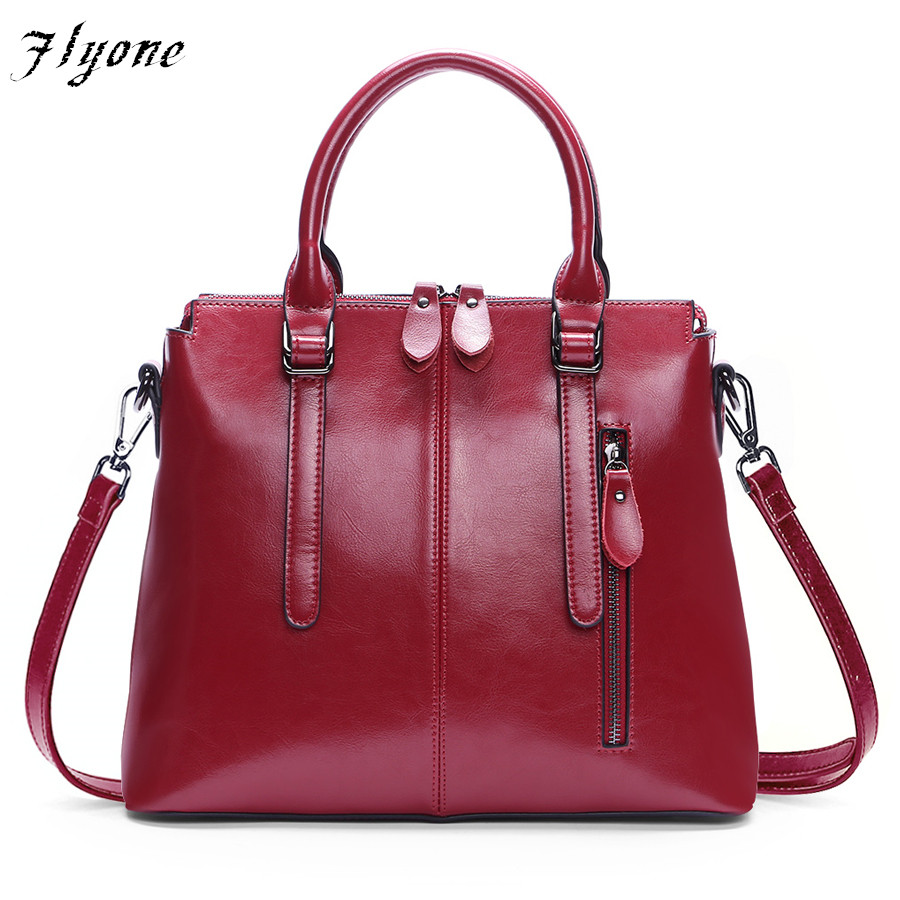 Flyone Brand Genuine leather Women Handbag Large capacity Casual Women Bag New Arrival 2017 Soft Leather Fashion Shoulder Bag new 2017 fashion brand genuine leather women handbag europe and america oil wax leather shoulder bag casual women