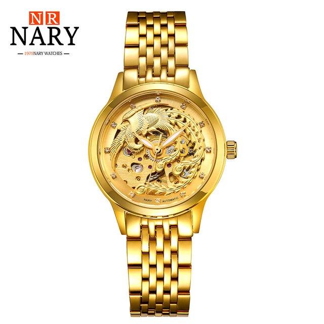 Luxury Brand NARY Golden Watches Women automatic mechanical Watch Women Skeleton Rhinestones female Waterproof phoenix watch