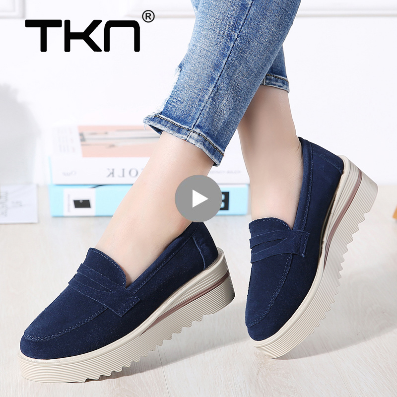 Women Spring Flats Platform Shoes   Suede     Leather   Slip on Loafers Flat Moccains Fringe Creepers Sneakers Woman Tenis Feminino 2855