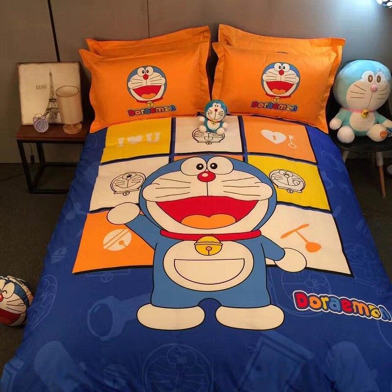 Doraemon Постельное белье 4 шт. 100% хлопок Дети Набор пододеяльников для пуховых одеял двуспальная кровать Простыни наволочки Домашний текстиль ...