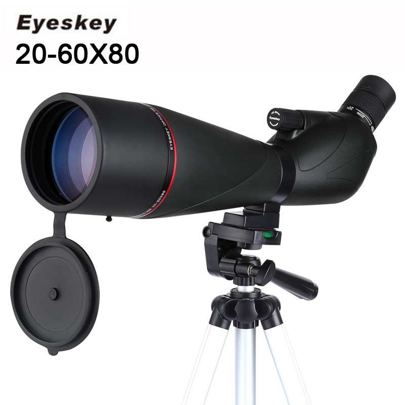 New Eyeskey 20-60x80 Waterproof Spotting Scope Zoom Spotting Scope Full Multicoated Birdwatching Monocular Telescope With Tripod браслет с подвеской 41 бриллиантовая собака