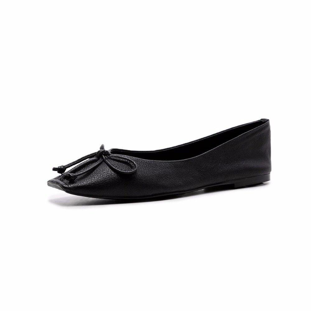 De Femmes Véritable En Apricot Cuir blanc Bout Mode L55 Bowtie Chaussures Superstar Douce Danse Pour Carré Doux Appartements noir 2019 Peu Profonde Ballet Confortable D'été KcTlF1J