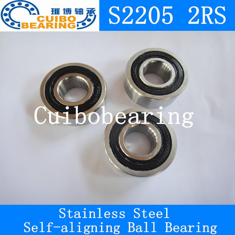 Free shipping 2pcs Stainless steel self-aligning ball bearings S2205  2rs Size 25*52*18 2pcs set stainless steel 90 degree self closing cabinet closet door hinges home roomfurniture hardware accessories supply