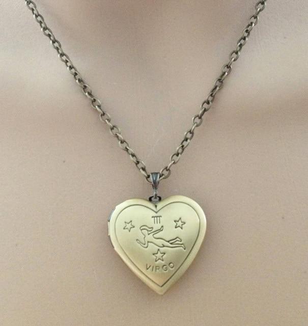 trendy design heart locket pendant charm Virgo necklace Zodiac pendants copper necklace constellations necklace birthday gifts