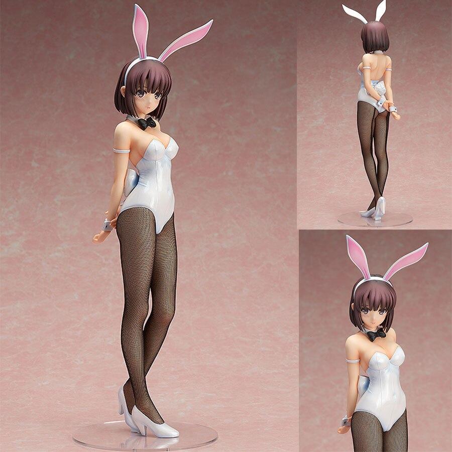 Saenai Heroine No Sodatekata Anime 43cm Katou Megumi Rabbit Ear Bunny girl Model White Sexy Standing Adult Action Figure Toys anime saenai heroine no sodatekata katou megumi stand ver sexy pvc figure collectible model toy