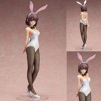 Saenai Heroine No Sodatekata Anime 43cm Katou Megumi Rabbit Ear Bunny girl Model White Sexy Standing Adult Action Figure Toys