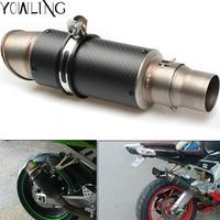 Motorcycle Exhaust Laser Pipe Muffler Inlet 51mm 61mm Exhaust Mufflers Carbon Fiber Exhaust Pipe With Sticker