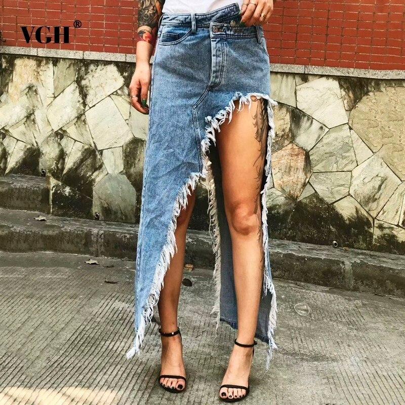 VGH Tassel Denim Women's Cowboy Skirt Blue High Street Irregular High Waist Straight Women Skirt 2020 Summer Fashion Casual New