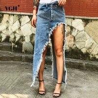 VGH Tassel Denim Women's Cowboy Skirt Blue High Street Irregular High Waist Straight Women Skirt 2018 Summer Fashion Casual New