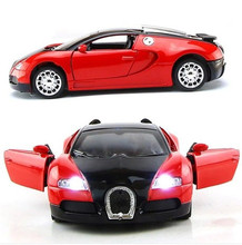1:36 Scale Model Car Bugatti Veyron Diecast Car Model With Sound and Light Collection Car Toys Vehicle Gift 1 32 scale bugatti veyron gt diecast car model red blue yellow with sound
