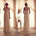 2017 Hot Long Wedding Dress Anna Campbell Crew Beaded Applique Pleats Crystals Gorgeous Back Custom Made Chiffon Bridal Gowns