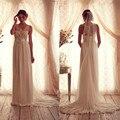2017 Quente Longo Vestido De Noiva Anna Campbell Tripulação Frisada Applique Plissados Cristais Lindo Voltar Custom Made Chiffon Vestidos de Noiva