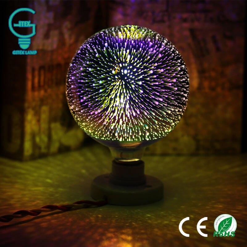 LED Light Bulb E27 3D Fireworks Decorative Edison Bulb 220V Party Lamp A60 ST64 G80 G95 G125 Holiday Christmas Decoration Light 5pcs e27 led bulb 2w 4w 6w vintage cold white warm white edison lamp g45 led filament decorative bulb ac 220v 240v