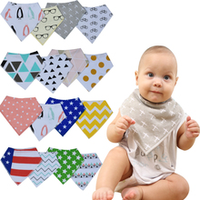 12pcs/lot Designed for baby Boys Girls Burp Cloths Saliva Towel Drool Bibs 100% Cotton Soft Absorbent Teething Bandana Baby Bibs