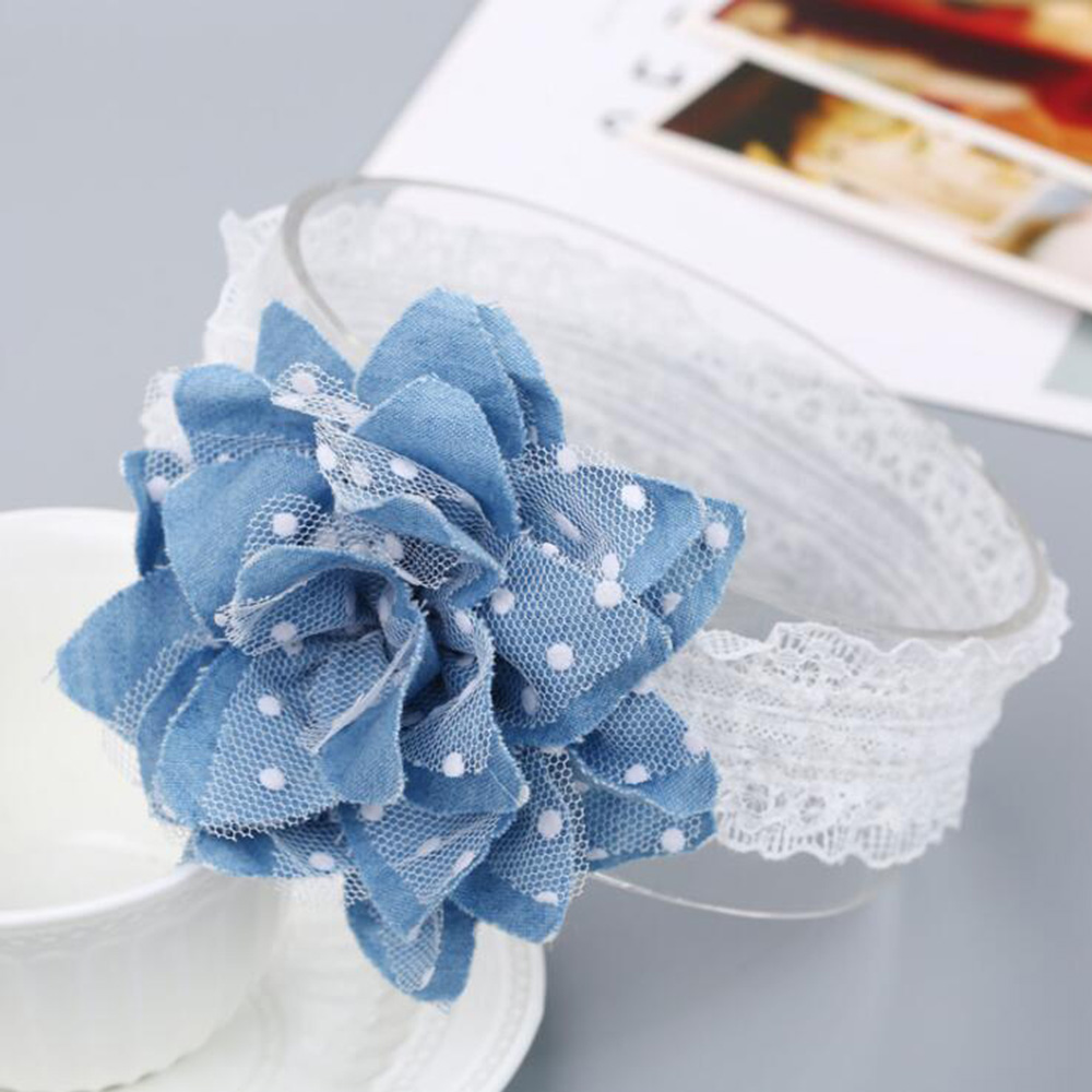 Baby Dot Flower Headband Cute Newborn Baby Girls Flower Lace Hair Bands Headwear Photography Props Child Kids Hair accessories children baby girls rhinestone flower star headband hair bands kids girls wedding party hair accessories princess headwear hb003