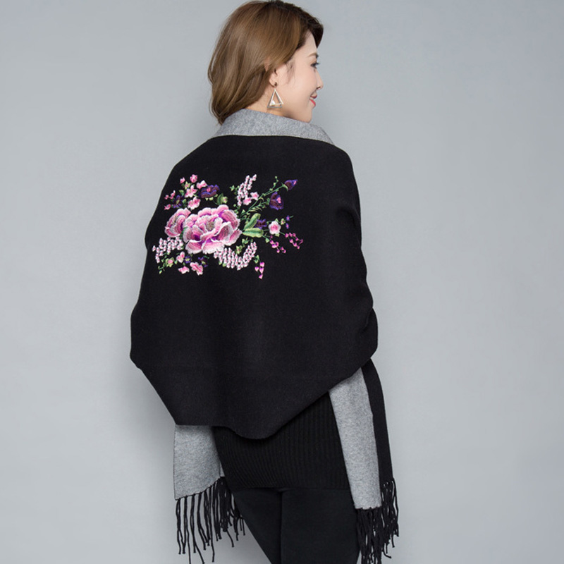 Image 4 - Oversize Double Color Double Use Women Winter Fashion Cashmere Embroidery Flower Embroider Poncho Scarf with Sleeve Tassels-in Women's Scarves from Apparel Accessories