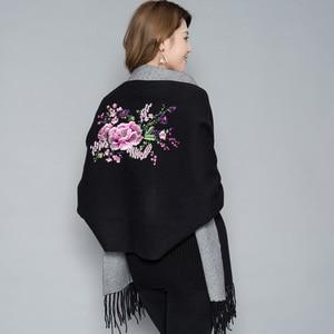 Image 4 - Écharpe brodée en cachemire à fleurs