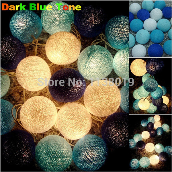 20pcs/set String Light Cotton Balls Fairy Party Wedding holiday Decor Patio Tone Art Home white/black/orange/gray...