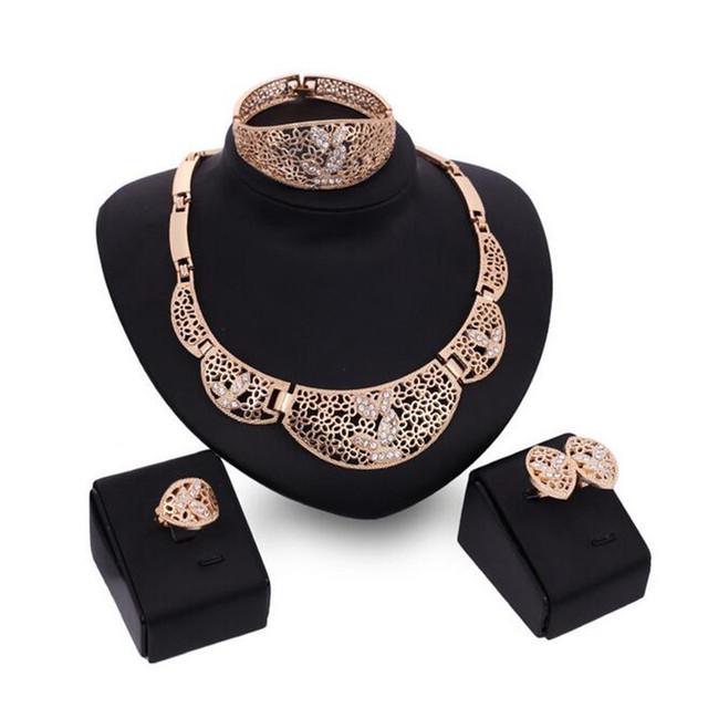 Vintage Oco Jafrican contas conjuntos de jóias Colar Brincos Pulseira Anel Mulheres casamento jóias De Casamento para as mulheres S0124