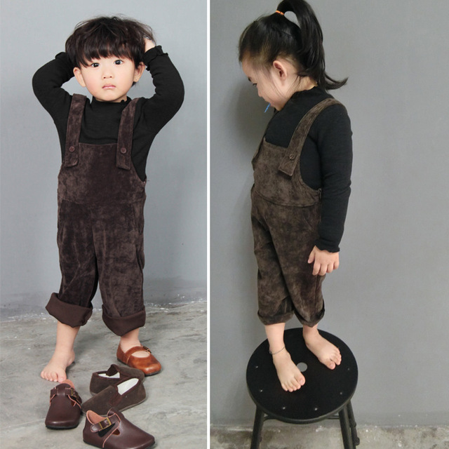 647f7ef70111 Kids Spring clothes baby boys overalls girls solid color brown dark blue suspenders  corduroy one-piece garment pants overalls