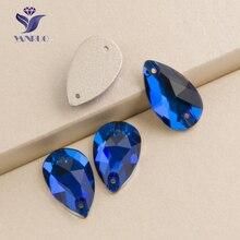 Yanruo #3230 все размеры Капри Синий Flatback падения Rhinestone пришить Strass Кристалл Камни для женское платье