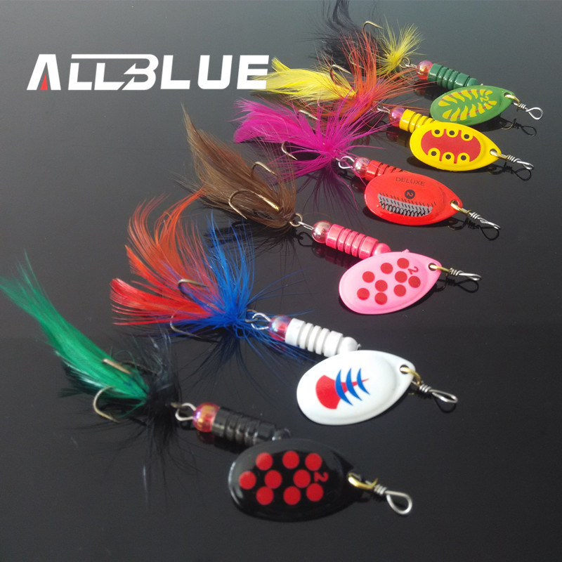 Allblue metal fishing lure 6pcs lot 5g spoon lure spinner for Spinner fishing lures