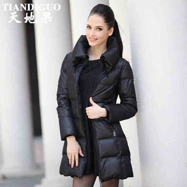 2013 fall and winter clothes thick medium long Slim duck Down jacket two way wear collar office ladies down parkas M-XXXXL D2116