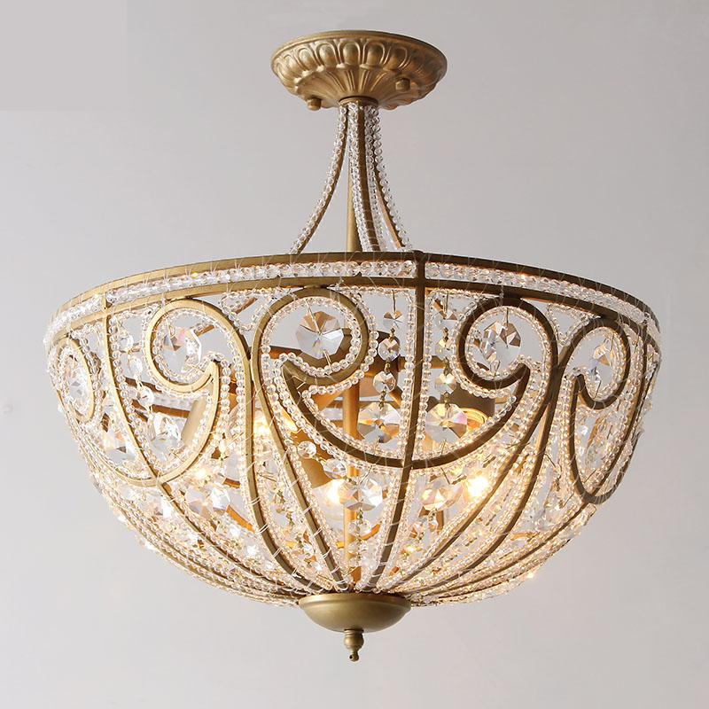 European style country ceiling lamps Vintage iron living room lamp restaurant lighting rustic bedroom lamp crystal ceiling light