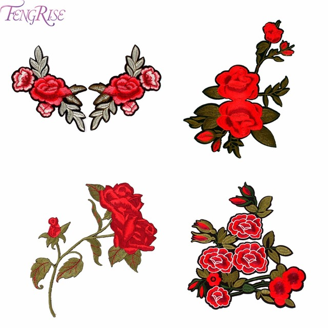 Fengrise embroidered patch applique cute colorful flowers patch sew on clothes bags handmade ornament fabric sticker diy craft in patches from home garden