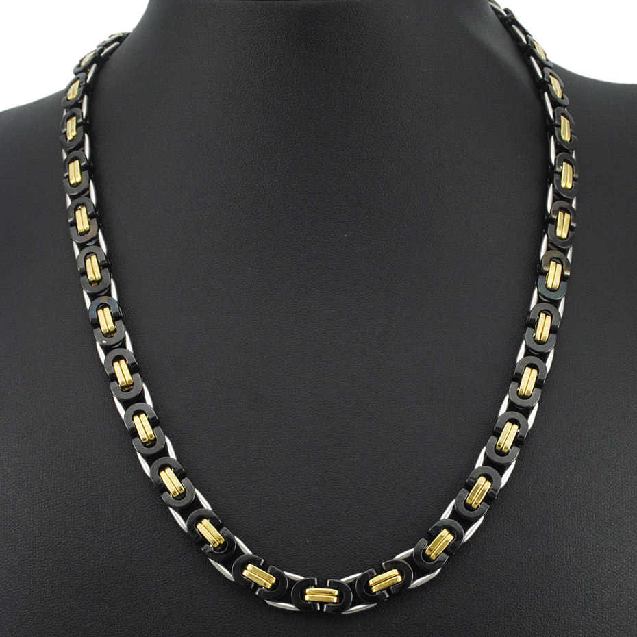 AMUMIU męskie bizantyjski naszyjnik osobowość Punk Rock 6 styl wybrać ogniwo ze stali nierdzewnej łańcuch biżuteria prezent KN048