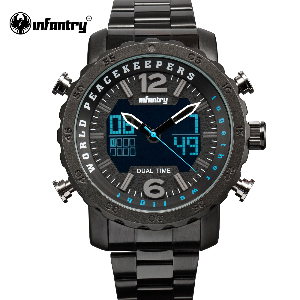 INFANTRY Sport Watch Dual Time Digital LED Date Day Analog Black Stainless Steel Strap Mens Quartz Watches Military Wristwatches infantry mens watches relojes hombre luminous watches 2017 new date day police black g10 nylon fabric strap quartz watches