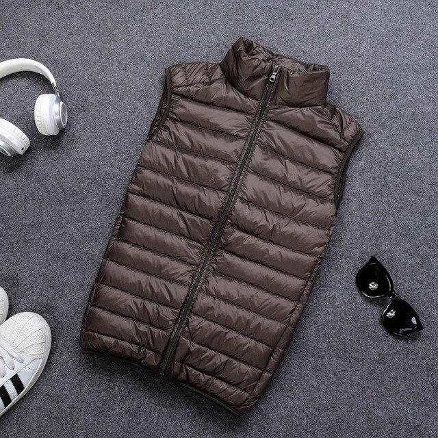 Schinteon 90% White Duck Down Men Vest Gielt Casual Waistcoat Spring Autumn Light Down Jacket Male 5
