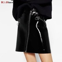 BOoDinerinle High Street Casual Skirt Women High Waist PU Leather Mini Skirt Women Black Streetwear Zipper Short Skirt Women