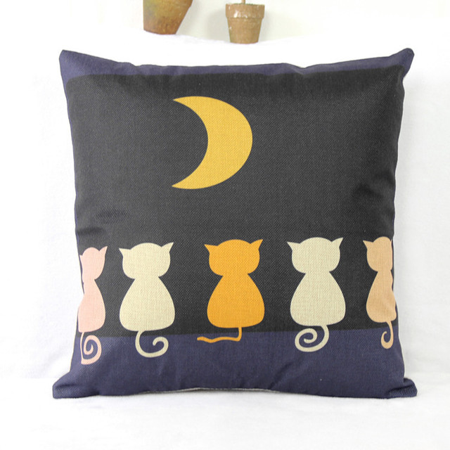 Japanese Style Linen Pillow Cushion Cover Sofa Cat Lovers Birthday Gift Without Core