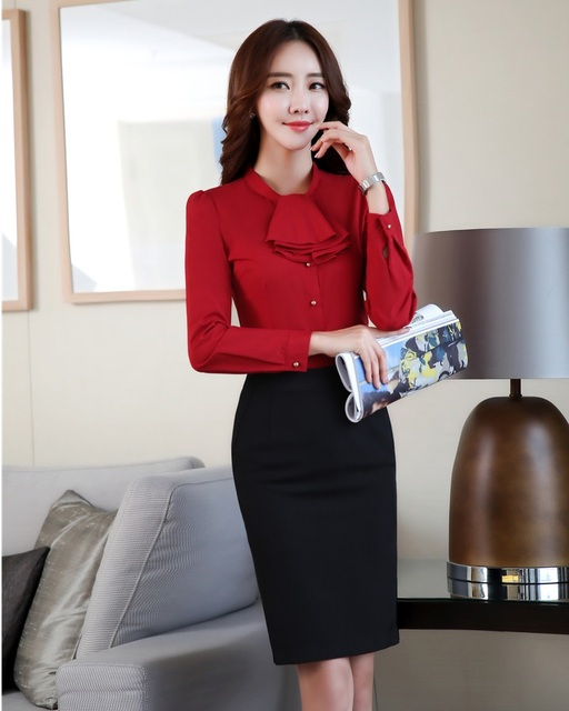 d293bb70640344 New 2018 Spring 2 Piece Sets Women Suits with Skirt and Top Set Red Blouses  Ladies Office Uniform Designs OL Style